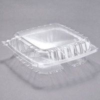 Dart Solo C95PST3 9 1/2 inch x 9 1/2 inch x 3 1/4 inch ClearSeal 3 Compartment Hinged Lid Plastic Container - 100/Pack