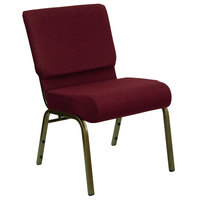 Burgundy 21 inch Extra Wide Church Chair with Gold Vein Frame