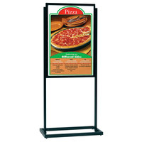 Aarco Boaster 24 1/2 inch x 63 inch Black Double Sided Freestanding Poster / Sign Holder