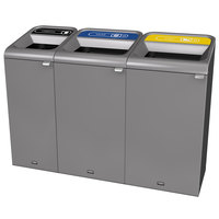 Rubbermaid 1961759 Configure 61 Gallon Stenni Gray 3 Stream Landfill, Paper, and Cans Indoor Waste / Recycling Station