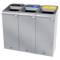 Rubbermaid 1961788 Configure 45 Gallon Stainless Steel 3 Stream Landfill, Paper, and Cans Indoor Waste / Recycling Station