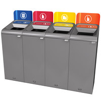 Rubbermaid 1961778 Configure 60 Gallon Stenni Gray 4 Stream Paper, Plastic, Cans, and Glass Indoor Recycling Station with Signs
