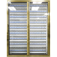 Styleline CL2672-NT Classic Plus 26 inch x 72 inch Walk-In Cooler Merchandiser Doors with Shelving - Anodized Bright Gold with Right Hinge - 2/Set