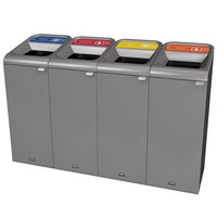 Rubbermaid 1961771 Configure 60 Gallon Stenni Gray 4 Stream Paper, Plastic, Cans, and Glass Indoor Recycling Station