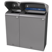 Rubbermaid 1961804 Configure 48 Gallon Stenni Gray 2 Stream Landfill and Mixed Recycling Outdoor Waste / Recycling Station with Rain Hoods