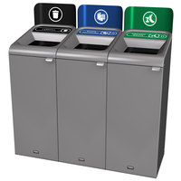 Rubbermaid 1961774 Configure 45 Gallon Stenni Gray 3 Stream Landfill, Mixed Recycling, and Organic Waste Indoor Waste / Recycling Station with Signs