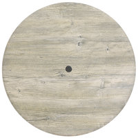 Grosfillex 99811071 36 inch Round White Oak Outdoor Molded Melamine Table Top with Umbrella Hole