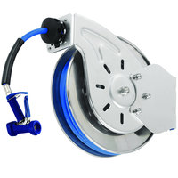 T&S B-7133-06 Stainless Steel Open Hose Reel with 1/2 inch x 35' Hose and Front Trigger Water Gun - 7/16 inch Flow Orifice