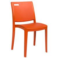 Grosfillex US563019 / US653019 Metro Orange Indoor / Outdoor Stacking Resin Chair