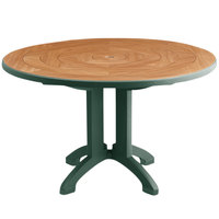 Grosfillex US920078 Atlantis 38 inch Round Amazon Green Outdoor Folding Table