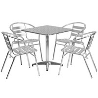 27 1/2 inch Square Aluminum Indoor / Outdoor Table with 4 Slat Back Stacking Chairs