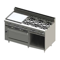 Blodgett BR-24G-6-36-NAT Natural Gas 6 Burner 60 inch Manual Range with 24 inch Left Side Griddle, 1 Standard Oven, and 1 Cabinet Base - 258,000 BTU