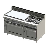 Blodgett BR-36GT-4-2436-NAT Natural Gas 4 Burner 60 inch Thermostatic Range with 36 inch Left Side Griddle and Double Oven Base - 252,000 BTU