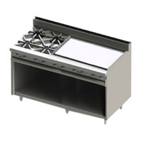 Blodgett BR-4-36GT-LP Liquid Propane 4 Burner 60 inch Thermostatic Range with 36 inch Right Side Griddle and Cabinet Base - 192,000 BTU