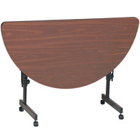 Correll FT2448HR-01 Deluxe 24 inch x 48 inch Half Round Walnut High Pressure Adjustable Height Flip Top Table