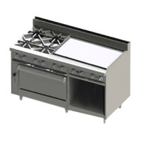 Blodgett BR-4-36GT-36-LP Liquid Propane 4 Burner 60 inch Thermostatic Range with 36 inch Right Side Griddle, 1 Standard Oven, and 1 Cabinet Base - 222,000 BTU