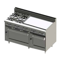Blodgett BR-4-36G-2436-NAT Natural Gas 4 Burner 60 inch Manual Range with 36 inch Right Side Griddle and Double Oven Base - 252,000 BTU