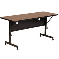 Correll FT2448-01 Deluxe 24 inch x 48 inch Walnut High Pressure Adjustable Height Flip Top Table