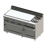 Blodgett BR-48G-2-2436-LP Liquid Propane 2 Burner 60 inch Manual Range with 48 inch Left Side Griddle and Double Oven Base - 216,000 BTU
