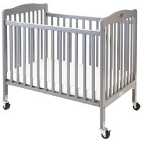 L.A. Baby CW-883A The Little Wood Crib 24 inch x 38 inch Gray Mini / Portable Folding Wood Crib with 3 inch Vinyl Covered Mattress