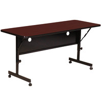 Correll FT2460-21 Deluxe 24 inch x 60 inch Cherry High Pressure Adjustable Height Flip Top Table