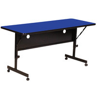 Correll FT2472-37 Deluxe 24 inch x 72 inch Blue High Pressure Adjustable Height Flip Top Table