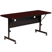 Correll FT2472-20 Deluxe 24 inch x 72 inch Mahogany High Pressure Adjustable Height Flip Top Table