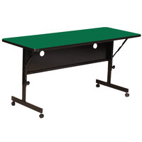 Correll FT2472-39 Deluxe 24 inch x 72 inch Green High Pressure Adjustable Height Flip Top Table