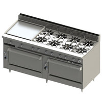 Blodgett BR-24GT-8-3636C-NAT Natural Gas 8 Burner 72 inch Thermostatic Range with 24 inch Left Griddle, 1 Convection Oven, and 1 Standard Oven - 348,000 BTU