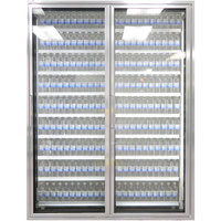 Styleline CL2472-2020 20//20 Plus 24 inch x 72 inch Walk-In Cooler Merchandiser Doors with Shelving - Anodized Satin Silver, Right Hinge - 2/Set