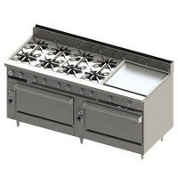 Blodgett BR-8-24GT-3636-LP Liquid Propane 8 Burner 72 inch Thermostatic Range with 24 inch Right Griddle and Double Standard Oven Base - 348,000 BTU
