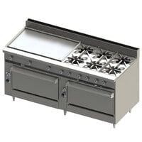 Blodgett BR-36GT-6-3636C-LP Liquid Propane 6 Burner 72 inch Thermostatic Range with 36 inch Left Griddle, 1 Convection Oven, and 1 Standard Oven - 312,000 BTU