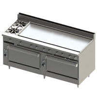 Blodgett BR-2-60GT-3636C-LP Liquid Propane 2 Burner 72 inch Thermostatic Range with 60 inch Right Griddle, 1 Convection Oven, and 1 Standard Oven - 240,000 BTU