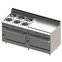 Blodgett BR-6-36GT-3636-LP Liquid Propane 6 Burner 72 inch Thermostatic Range with 36 inch Right Griddle and Double Standard Oven Base - 312,000 BTU