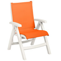 Grosfillex US019004 Belize White Midback Folding Resin Outdoor Sling Chair with Orange Seat - 2/Pack