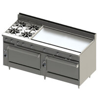 Blodgett BR-4-48GT-3636-LP Liquid Propane 4 Burner 72 inch Thermostatic Range with 48 inch Right Griddle and Double Standard Oven Base - 276,000 BTU