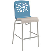 Grosfillex US310196 Tempo Storm Blue / Linen Indoor Stacking Bar Stool with Linen Seat - 8/Case