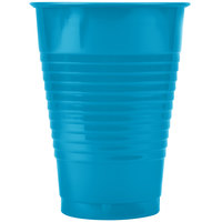Creative Converting 28313171 12 oz. Turquoise Plastic Cup - 240 / Case