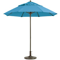 Grosfillex 98819431 Windmaster 9' Sky Blue Fiberglass Umbrella with 1 1/2 inch Aluminum Pole