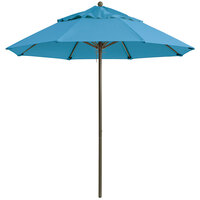 Grosfillex 98319431 Windmaster 7 1/2' Sky Blue Fiberglass Umbrella with 1 1/2 inch Aluminum Pole