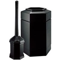 Commercial Zone 715201 PolyTec 30 Gallon Black Hexagonal Trash Can with Site Saver 5 Qt. Cigarette Receptacle
