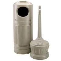 Commercial Zone 715302 Littermate 30 Gallon Beige Trash Can with Smokers' Outpost Cigarette Receptacle