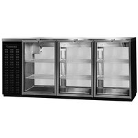 Continental Refrigerator BBUC79-GD-PT 79 inch Black Glass Door Pass-Through Undercounter Back Bar Refrigerator