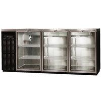 Continental Refrigerator BBUC79S-GD 79 inch Black Glass Door Shallow Depth Undercounter Back Bar Refrigerator
