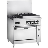 Vulcan 36C-2B24CBN Endurance Natural Gas 2 Burner 36 inch Range with 24 inch Charbroiler and Convection Oven Base - 159,000 BTU