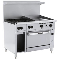 Vulcan 48C-4B24GTP Endurance Liquid Propane 4 Burner 48 inch Range with 24 inch Thermostatic Griddle, Convection Oven, and 12 inch Cabinet Base - 195,000 BTU