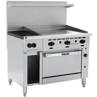 Vulcan 48C-2B36GN Endurance Natural Gas 2 Burner 48 inch Range with 36 inch Manual Griddle, Convection Oven, and 12 inch Cabinet Base - 155,000 BTU