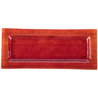 Cardinal Arcoroc FG935 Tiger 13 3/4 inch x 6 inch Red Glass Rectangular Platter - 16/Case