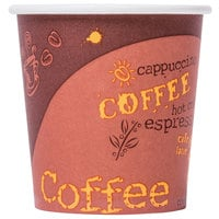 Choice 4 oz. Poly Paper Hot Cup with Coffee Design - 1000 / Case