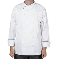 Mercer M62020WBM Renaissance Men's 40 inch Medium White Double Breasted Scoop Neck Chef Jacket With Black Piping